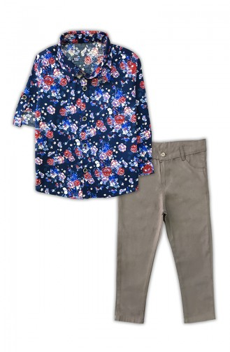 Floral Shirt And Trouser Suit G0338 Navy Blue Stone 0338