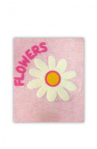 Çiçek Detaylı Penye Battaniye H0471 Pembe