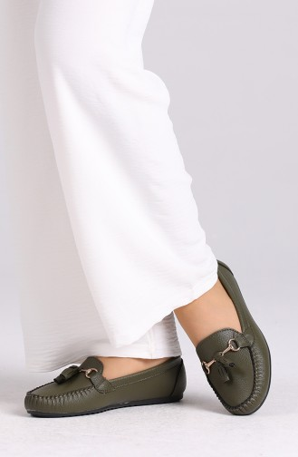 Khaki Woman Flat Shoe 120-14
