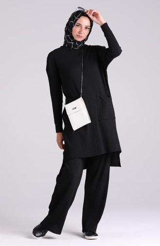 Cepli Tunik Pantolon İkili Takım 8146-01 Siyah