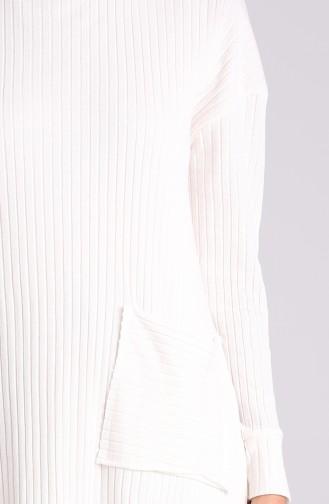 Cepli Tunik Pantolon İkili Takım 8146-02 Ekru