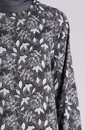 Desenli Büzgülü Elbise 5322-04 Siyah