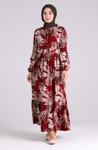 فستان أحمر كلاريت 4550-06