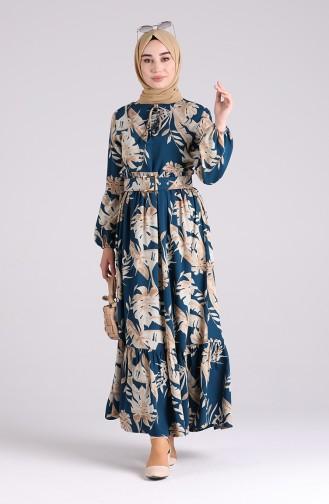 Robe Hijab Pétrole 4550-07