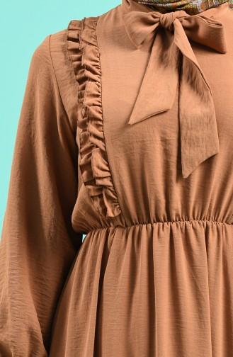 Tie Collar Dress 6125-06 Milk Coffee 6125-06