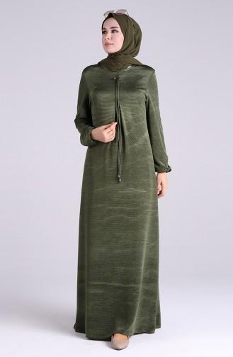 Kolu Lastikli A Pile Elbise 2028-06 Yeşil