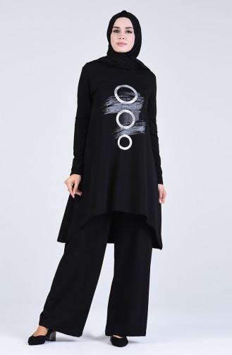 Baskılı Tunik Pantolon İkili Takım 51021-03 Siyah