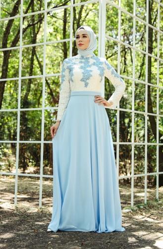 Ruched Evening Dress 8202-01 Ecru Bebe Blue 8202-01