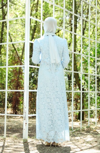 فساتين سهرة بتصميم اسلامي أزرق فاتح 9027-06