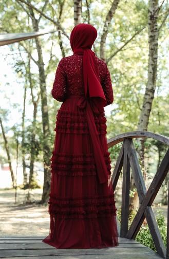 فساتين سهرة بتصميم اسلامي أحمر كلاريت 52770-02