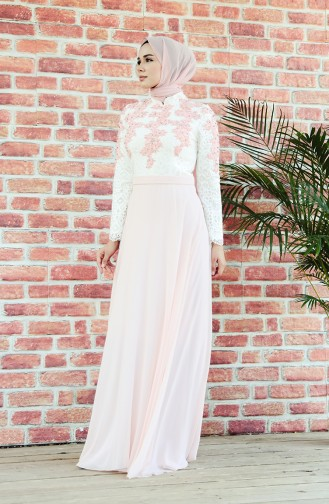 Abendkleid mit Spitzen 8202-06 Naturfarbe Puder 8202-06
