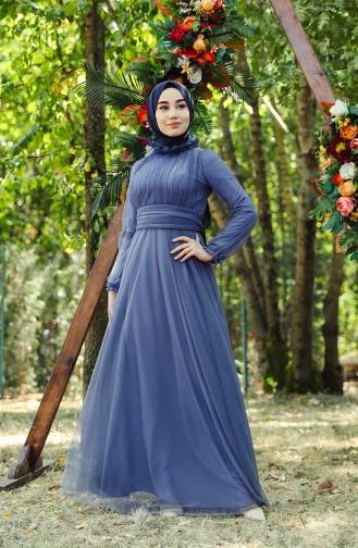 Indigo İslamitische Avondjurk 1035-02