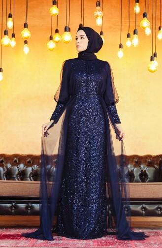 فساتين سهرة بتصميم اسلامي أزرق كحلي 5346-04