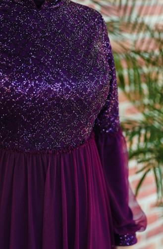 Robe de Soirée a Paillettes Manches Ballon 5239-02 Pourpre 5239-02
