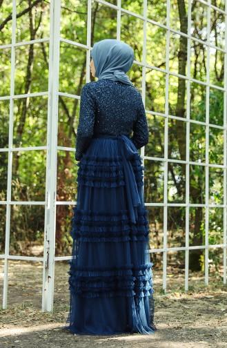 Robe de Soirée en Tulle Détail Paillettes 52770-04 Pétrole 52770-04