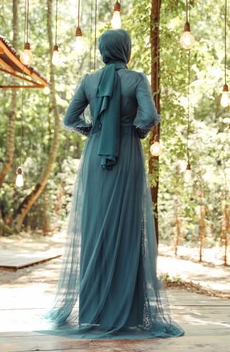 Petroleum Hijab-Abendkleider 5346-01