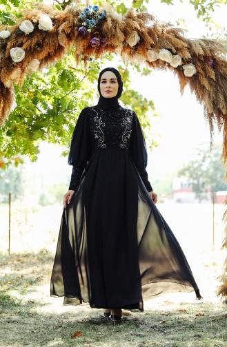 Schwarz Hijab-Abendkleider 52771-02