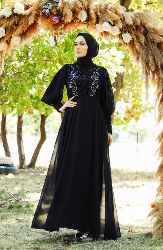 Sequin Detailed Evening Dress 52771-02 Black 52771-02