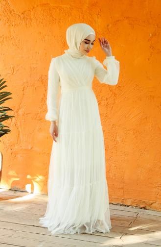 Naturfarbe Hijab-Abendkleider 1034-01