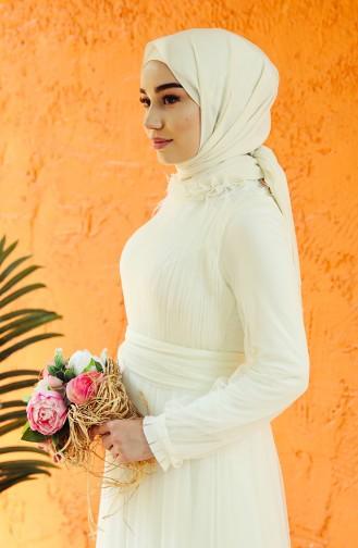 Ecru İslamitische Avondjurk 1035-03