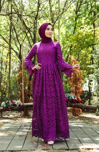 Lace Covering Evening Dress 7580-01 Damson 7580-01