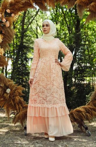Lachsrosa Hijab-Abendkleider 7584-01
