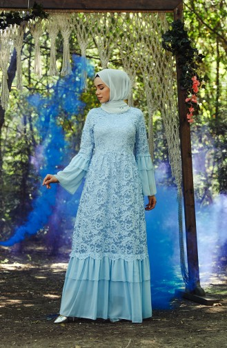 فساتين سهرة بتصميم اسلامي أزرق 7584-02