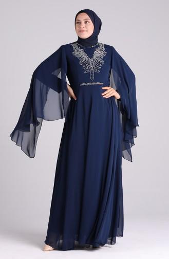 فساتين سهرة بتصميم اسلامي أزرق كحلي 2058-04