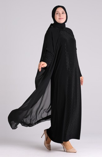 Schwarz Hijab-Abendkleider 6330-01