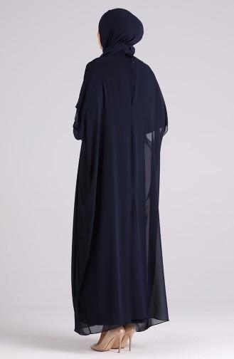 Büyük Beden Taşlı Abiye Elbise 6330-02 Lacivert
