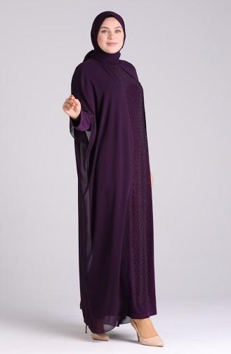 فساتين سهرة بتصميم اسلامي أرجواني 6330-03