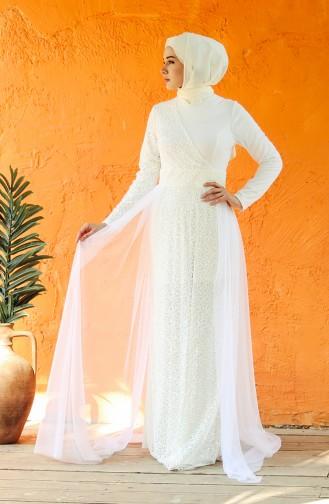 فساتين سهرة بتصميم اسلامي أبيض 5345-01