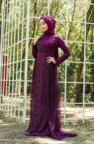 فساتين سهرة بتصميم اسلامي أرجواني 5345-03