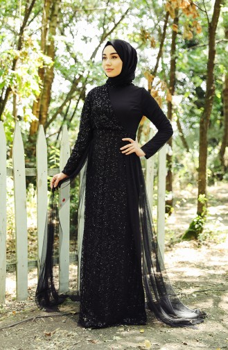 Black İslamitische Avondjurk 5345-06