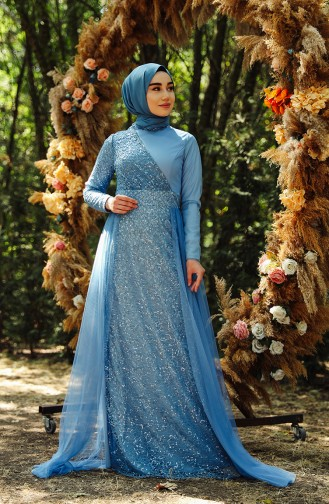 فساتين سهرة بتصميم اسلامي أزرق 5345-08