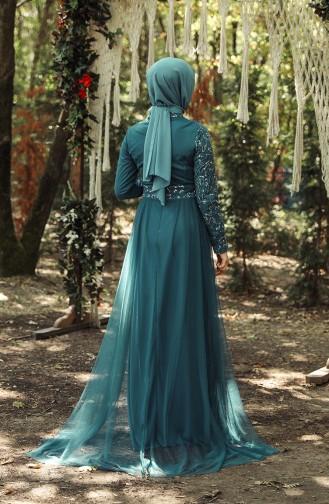 Oil Blue İslamitische Avondjurk 5345-09