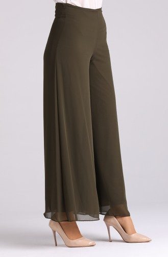 Wide Leg Chiffon Trousers 4002-02 Khaki 4002-02