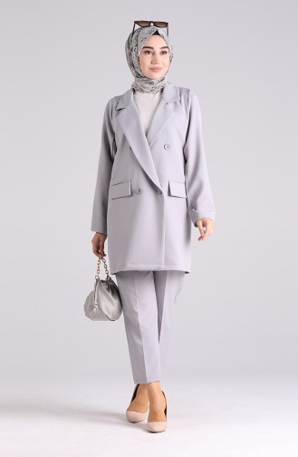 Buttoned Jacket Trousers Double Suit 1054-04 Gray 1054-04