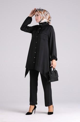 Aerobin Fabric Asymmetric Tunic Trousers Double Suit 1094-03 Black 1094-03