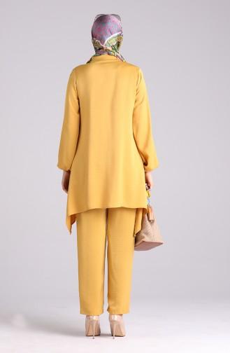Aerobin Fabric Asymmetric Tunic Trousers Double Suit 1094-06 Mustard 1094-06