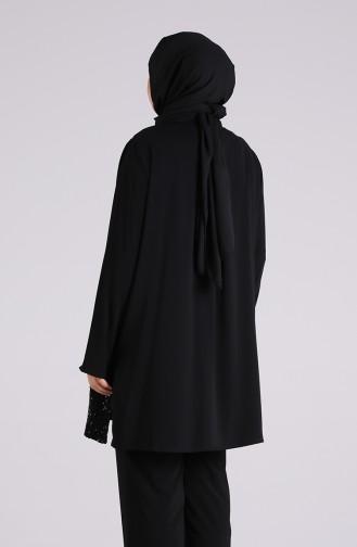 Büyük Beden Nakışlı Tunik Takım 8040-01 Siyah 8040-01