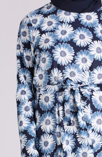 Navy Blue Hijab Dress 5709-03
