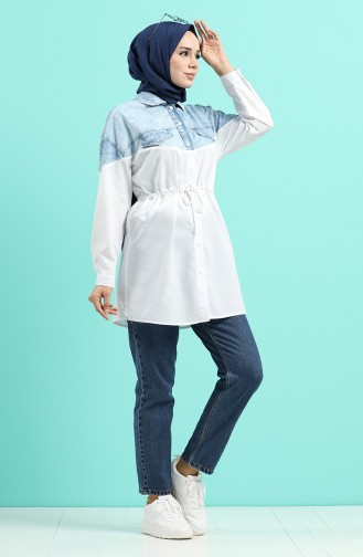 White Overhemdblouse 5030A-01