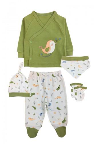 طقم بيجامة الاطفال وحديثي الولادة أخضر حشيشي 0014