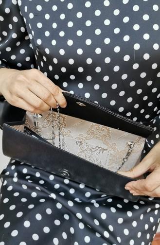 Bayan Clutch Portföy Taşlı Çanta 457113-201 Siyah