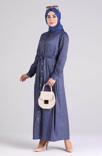 Dunkelblau Hijap Kleider 1011-01