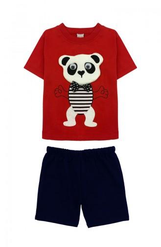 Erkek Çocuk Ayıcık Detaylı Takım H0303 Kırmızı