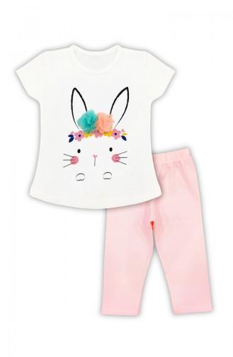 Kız Çocuk Tavşan Detaylı Takım H0311 Beyaz