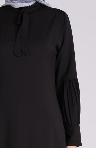 Kravat Yaka Büzgülü Tunik 1191-01 Siyah