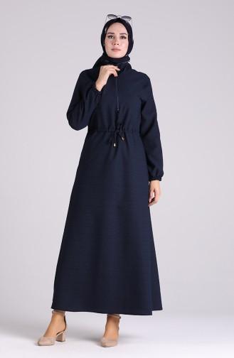 Fermuarlı Beli Büzgülü Elbise 4325-02 Lacivert